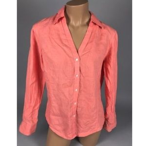 💟Brooks Brothers Womens Pink Long Sleeve LINEN 10